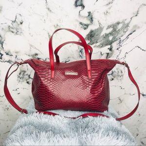 Nine West Red Snakeskin Trapeze Bag